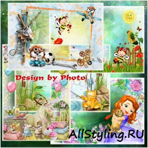 Kids frames with cartoon characters