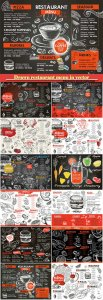 Drawn restaurant menu in vector, desserts, drinks, fast food, seafood