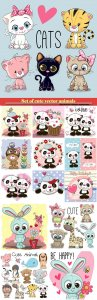 Set of cute animals, pandas, cute cats