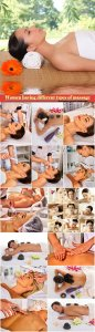 Collection of photos with women having different types of massage, spa, wellness, health care and aromatherapy college