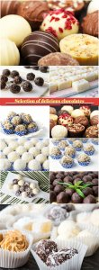 Selection of delicious chocolates, coconut spread cookies and candy