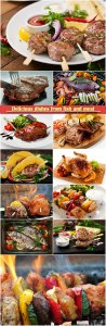 Delicious dishes from fish and meat