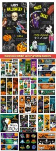 Halloween holiday vector greeting banners of pumpkin lantern and spooky ghost, zombie skull, witch or black cat