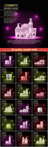 3D realistic cosmetic bottle ads template, cosmetic brand advertising concept design