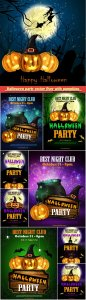 Halloween party vector flyer with pumpkins, hat