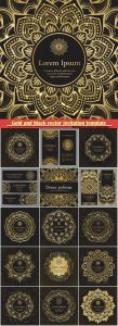Gold and black vector invitation template, flyer template set with flower mandala in gold color