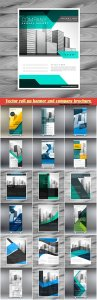 Abstract standee vector roll up banner and company brochure poster