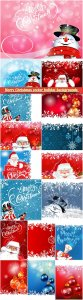 Christmas vector holiday backgrounds, Santa Claus, snowman, Christmas decorations and snowflakes # 5