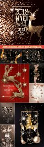 Merry christmas and New Year greeting card, gold sparkling ribbon, flying confetti and beautiful watch, shiny reindeers and christmas decorations
