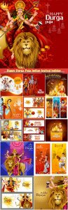 Happy Durga Puja Indian festival holiday vector background
