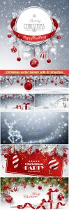 Christmas vector banner with fir branches and red balls on snow sparkling background