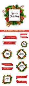 Merry christmas and New Year vector decorations
