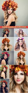 Beautiful young girls with wreaths on head