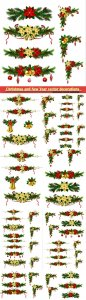 Christmas and New Year vector decorations with fir branches, red ribbons and bells