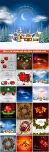 Merry christmas and New Year greeting card vector # 12
