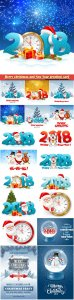 Merry christmas and New Year greeting card vector # 15