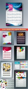 Vector calendar 2018 template illustration with number on abstract colorful background