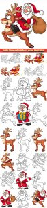 Santa Claus and reindeers vector illustration