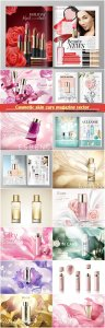 Cosmetic skin care magazine vector template