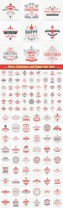 Merry Christmas and Happy New Year vector decorative badges
