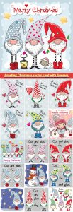 Greeting Christmas vector card with Gnomes and owls