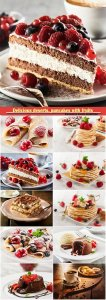 Delicious pancakes with fruits, piece of tiramisu cake