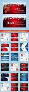 New Year gift voucher vector template
