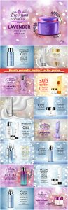 Beauty cosmetic product vector poster, skin care cream