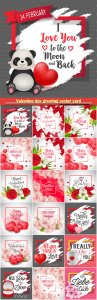 Valentine day greeting vector card, hearts i love you # 11