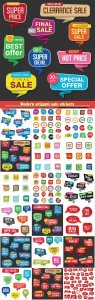 Modern origami sale stickers and vector tags colorful collection