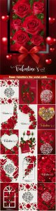 Happy Valentine's Day vector cards, red roses and hearts, romantic backgrounds # 4