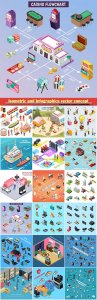 Isometric and Infographics vector concept, icon set on business style # 8