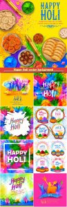Happy Holi vector background for color festival of India celebration greetings card