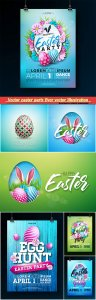 Vector easter party flyer vector Illustration