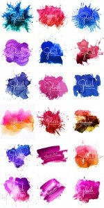 Abstract brush stroke for design and colorful splash watercolor in vector