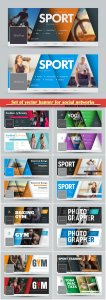 Set of vector banner for social networks with diagonal lines and a place for photos