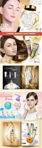 Cosmetic magazine vector template, attractive model with product containers in 3d illustration # 7