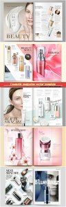 Cosmetic magazine vector template, attractive model with product containers in 3d illustration # 6