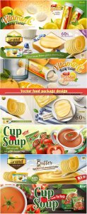 Vector food package design in 3d illustration, bokeh background