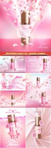 Advertising poster for cosmetic product and perfume with rose
