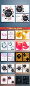 Wedding vector invitation suite set with flower decoration