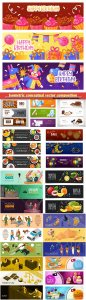Isometric conceptual vector composition, infographics template, horizontal banners set