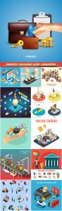 Isometric conceptual vector composition, infographics template, horizontal banners set # 2