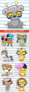 Funny vector animals in sunglasses
