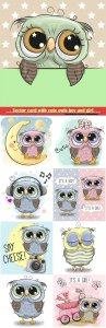 Vector greeting card with cute owls boy and girl