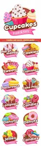 Candies and sweets colorful poster, donut, cookie, marshmallow, candy cane, lollipop