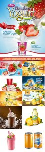 3d vector illustration with fruits and drinks