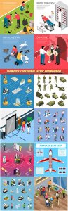 Isometric conceptual vector composition, infographics template, horizontal banners set # 11