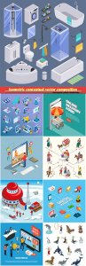 Isometric conceptual vector composition, infographics template, horizontal banners set # 9