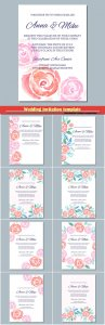 Wedding invitation template with watercolor roses, watercolor gentle background for invitations and greeting cards